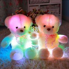 53CM Colorful LED Flash Plush Bear Pillow Doll Cushion Teddy Bear XMAS Creamy
