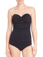 Elizabeth Hurley Beach Olympia Black Ruched Bandeau Swimsuit Size L