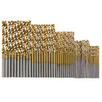 50pcs Titanium Coated HSS High Speed Steel Drill Bit Set Tool 1mm-3mm DIY Set