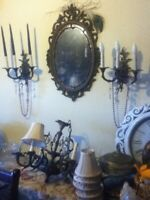 Antique Baroque Renaissance Goth Bronze 10pc Candelabra Chandelier Mirror Sconce
