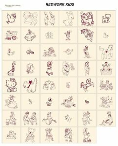 REDWORK KIDS. CARD machine embroidery designs jef files for janome 300e