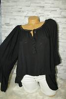Italy Shirt Tunika Bluse Oversized schwarz Gr. 36 38 40 42 blogger Boho Style