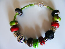 Beaded 925 Love Charm  Bracelet Green  Leather Cord Green/Brown/ Red/ Black Bead