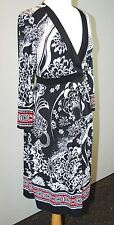 Liz Lange Maternity Long Sleev Dress - Red Black White Print Size M Knit Stretch