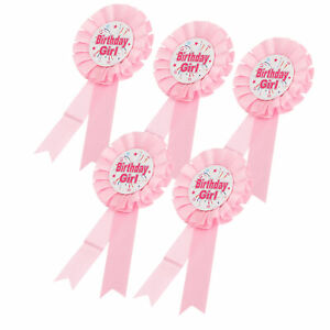 5x Brooch Pin Happy Birthday Ribbon Rosette Badge For Party Decor 6.1x2.8x2.8in