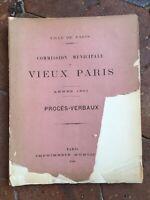 Commission Municipale du VIEUX PARIS séances Procès-verbaux 1901