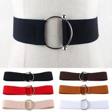 72442deffaf0c Women Simple Round Buckle Elastic Belt Stretch Corset Waistband Dress Décor