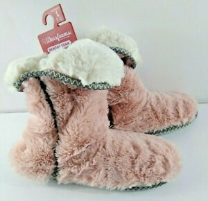 Dearfoams Women's Slippers Booties Memory Foam NWT Pink White Super Soft Large