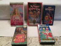 Lot of 5 CHRISTMAS VHS Tapes Children's Movies The Muppet Christmas Carol Barbie