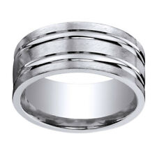 Sterling Silver 10mm Comfort Fit High Polished Groove Men's Band Ring Sz 10
