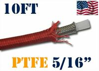 """5/16"""" 8MM NYLON STAINLESS STEEL PTFE  ETHANOL FUEL HOSE LINE 10FT RED"""