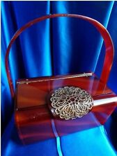 VINTAGE WILARDY BROWN TORTOISE SWIRL LUCITE PURSE WITH GOLD FILIGREE ! CLASSIC