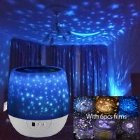 Kinder LED Nachtlicht,Einschlafhilfe mit6Film Projektor Sternenhimmel Nachtlampe