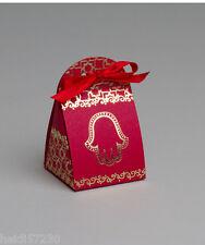 Lot 10 boites à dragée iris Main Fatma rouge+ruban mariage bapteme communion