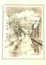Canal Print Black White Drawing ed. 85/250 A. Timothy Gaussiran Framed Matted
