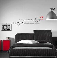 wall stickers frase adesiva se si sogna da soli è solo un sogno
