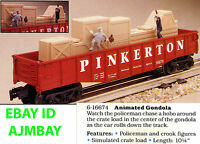 LIONEL ANIMATED 16674 PINKERTON GONDOLA 19822 OPERATING PORK DISPATCH BOXCAR NEW