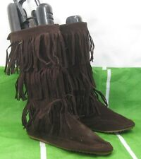DARK BROWN  Frill Flat Round Toe Mid-Calf Sexy Boot Size 8