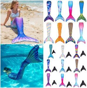 Womens Girls Mermaid Tail Swimming Costume Swimmable Monofin Swimwear Beachwear