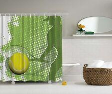 Tennis Game Graphic Shower Curtain Racquetball Sport Racket Yellow Ball Decor