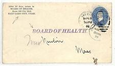Ss93 1896 USA Postal Stationery * Salt Lake City * Utah * consiglio di salute * COVER