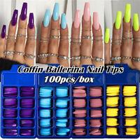 100PCS/Box Candy Color Full Cover False Nail Tips Long Coffin Nails Art Tools
