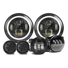 "7"" LED Headlights+4"" Fog Lights+Turn Signal Lamps for Jeep Wrangler JK JKU 07-18"
