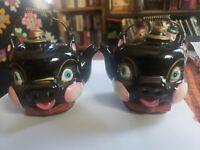 Vintage Anthropomorphic Japan Redware Tea Kettle Pig Salt And Pepper Shakers