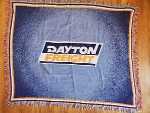 Dayton Freight Woven Blanket Orange Blue Made in USA Northwest Company 53x42