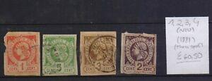 ! Haiti 1881.  Thin Spot  Stamp. YT#1,2,3,4(N/U). €60.50!