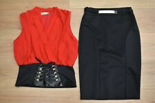 WOMENS SIZE 12-14 RED CORSET LACE UP TOP + BLACK SKIRT PARTY OUTFIT