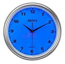 "Maple's Blue LED Style Wall Clock 14 "" Plastic Nite Time LED Lit Silver LMC141"
