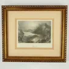 1842 Bartlett Engraving  Lough Ina Connemara Ireland 13.5 x 12 Framed Matted