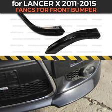 Fangs for front bumper Mitsubishi Lancer X 2011-2014 2 pcs. body kit ABS plastic