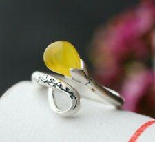 B06 Ring gelber Chalzedon Blüte Knospe Sterling Silber 925 größenverstellbar
