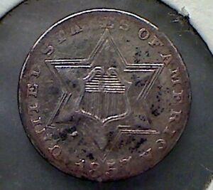 1857 3CS Three Cent Silver ,  nice original extra  fine