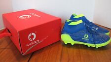 Leoci Kids Children youth Boys Soccer Shoes Size 4.5 Yellow Blue Outdoor Cleats
