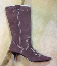 CAMI SZ 6.5 Mid Calf Boots Brown Suede Western Fashion Boots Heels