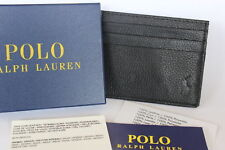 Ralph Lauren Mens Black Genuine Leather card holder case great gift brand new