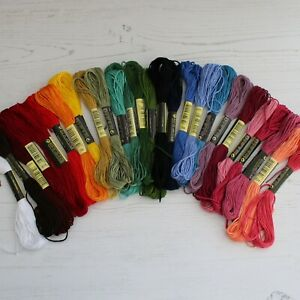 50 Assorted Coloured Embroidery Thread Floss Skein for Sewing Braiding & Crafts