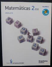 Matematicas 2º- ESO-ANDALUCIA.-VOL 2-GRAZALEMA-SANTILLANA(Libro Usado)