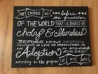 handmade ephesians 1:5 painting adoption sons bible verse chalkboard style