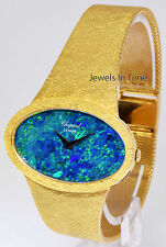 Chopard Mens Vintage 18k Yellow Gold and Black Opal Bracelet Watch 5038