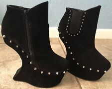 Bumpers Black Velvet Anti Gravity High Heels w/Spikes Club Wear Size 8 Shoes