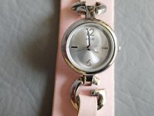 GUESS MONTRE BRACELET MANCHETTE CUIR ROSE GRISE FEMME FILLE QUARTZ PINK WATCH