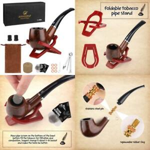 Smoking Tobacco Wooden Pipe Set With Wood Stand Holder And Accessories Pouch Kit