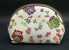 Owl Travel Makeup Bag Cute Cosmetic Bag Pouch Embroidered Cotton Tapestry