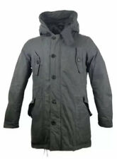All Saints Mountain Parka Large Mens Grey Down Feather Jacket Hooded Padded