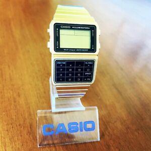 CLEAN Retro Casio DBC-611G Multi Lingual Data Bank Calculator Watch Gold Tone