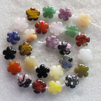 1strand Carved Mixed stone Flower 15x6mm Loose bead 15.5inch NN2081